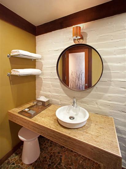Enjoy a modern, clean, bathroom with heated floors